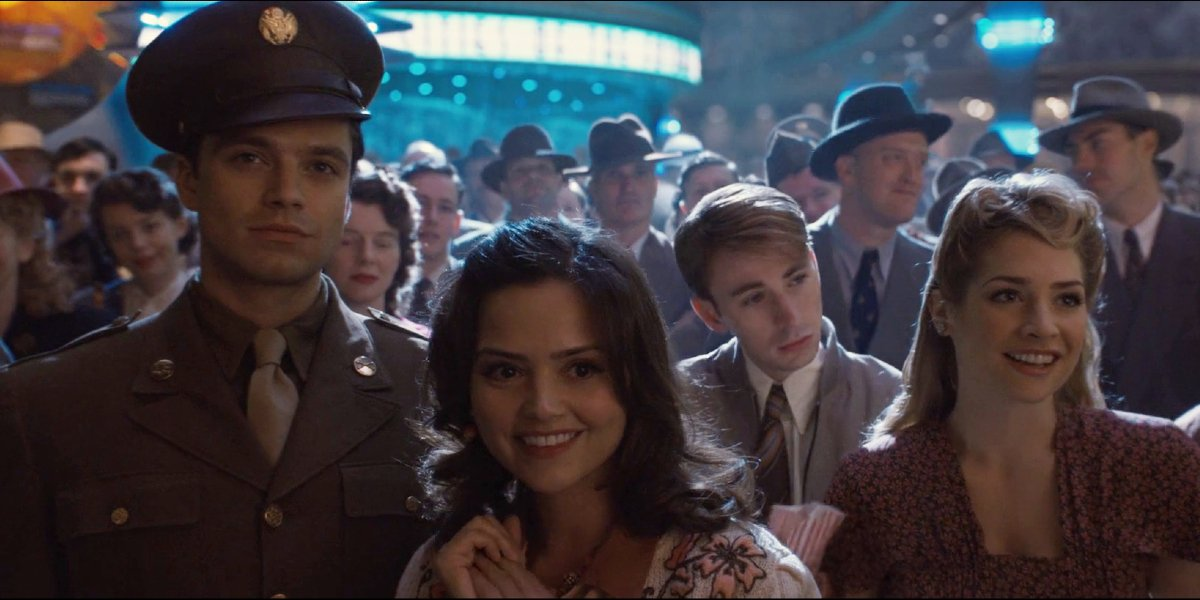 Sebastian Stan, Jenna Coleman and Chris Evans in Captain America: The First Avenger