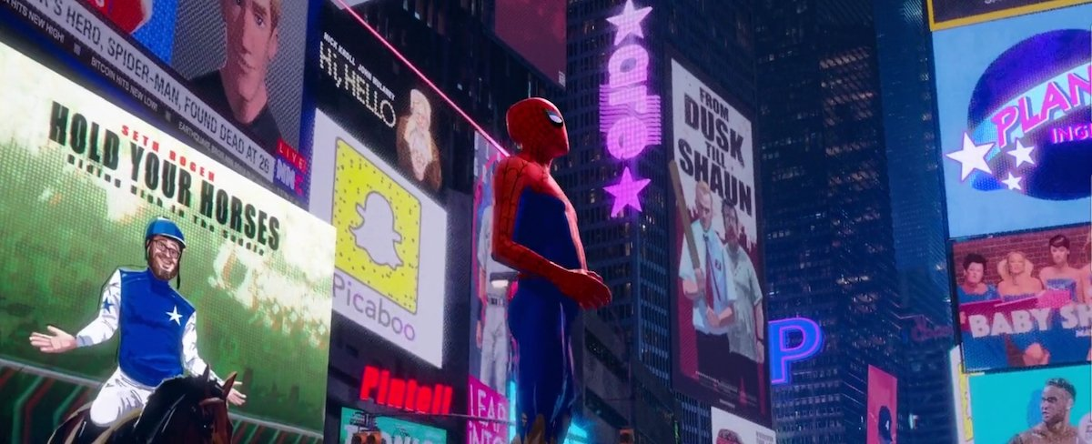 Spider-Man: Into the Spider-Verse movie posters, Edgar Wright Shaun of the Dead reference, Seth Roge