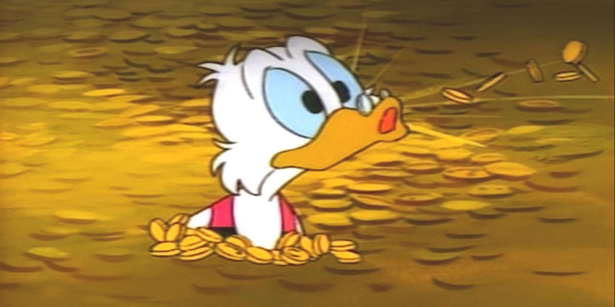 Scrooge McDuck going for a swim in Ducktales