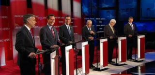 Republican candidates debate in 2012. During one debate, Rick Santorum blinked the most.