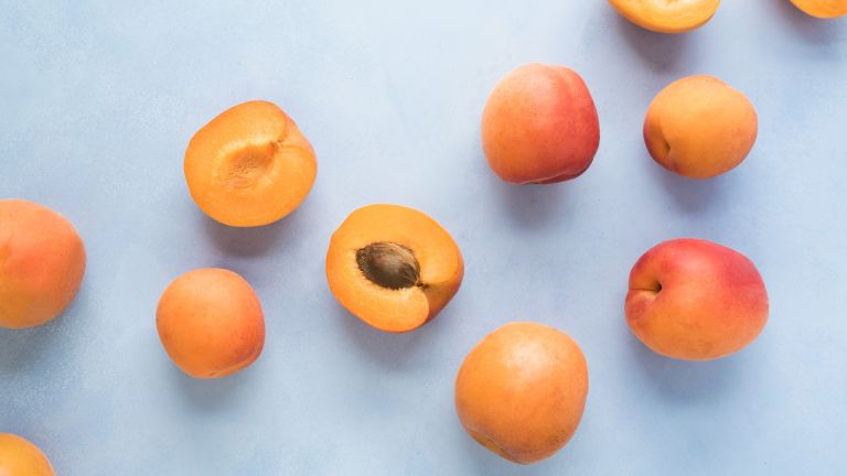 Peaches on a blue background