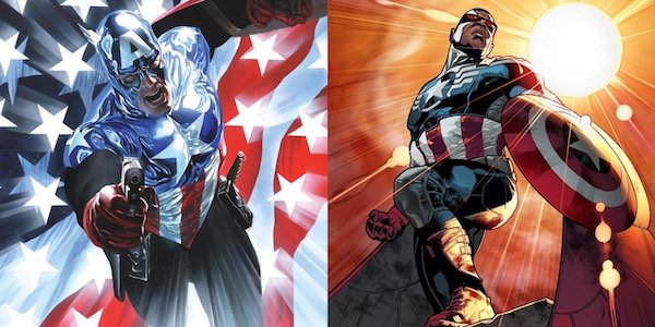 Bucky Barnes and Sam Wilson as Captain America in comics
