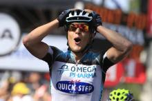 Matteo Trentin (Omega Pharma-Quick Step) struggles to understand that he has won