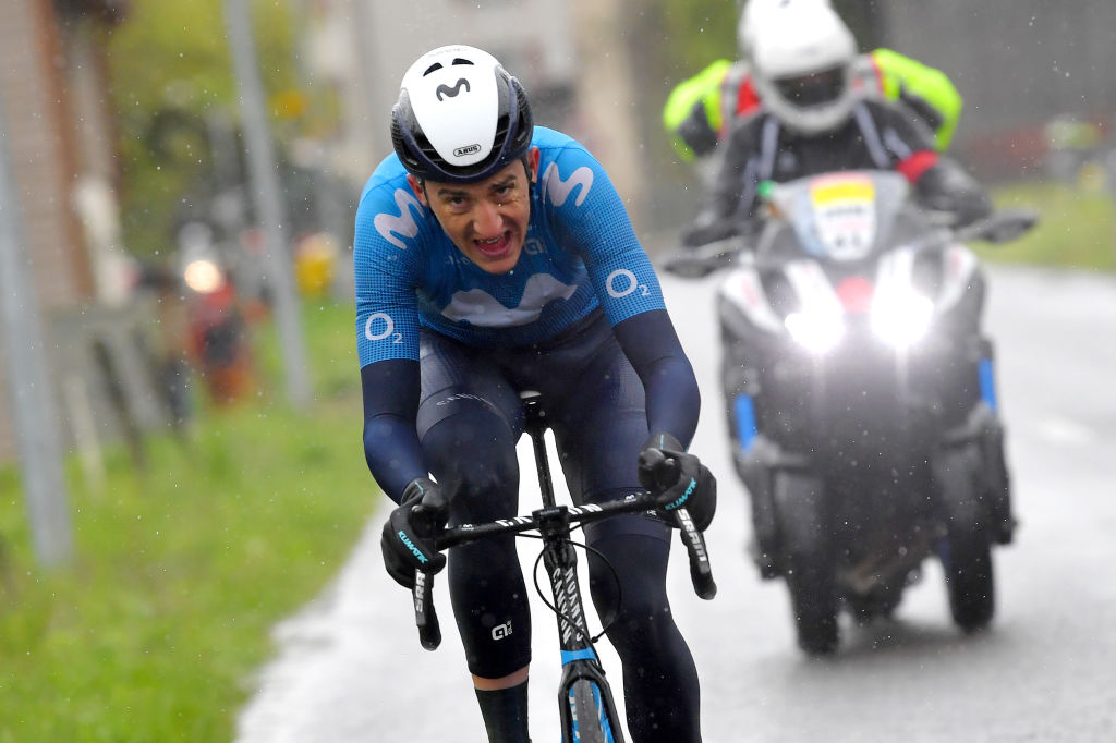 ESTAVAYER SWITZERLAND APRIL 30 Marc Soler Gimenez of Spain and Movistar Team attack on breakaway during the 74th Tour De Romandie 2021 Stage 3 a 1687km stage from Estavayer to Estavayer TDR2021 TDRnonstop UCIworldtour on April 30 2021 in Estavayer Switzerland Photo by Luc ClaessenGetty Images