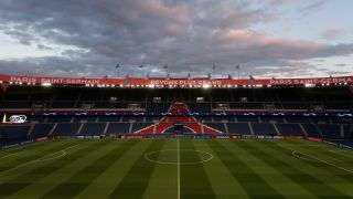 General view inside the stadium prior to the UEFA Champions League round of 16 second leg match between Paris Saint-Germain and Borussia Dortmund at Parc des Princes on March 11, 2020 in Paris, France.