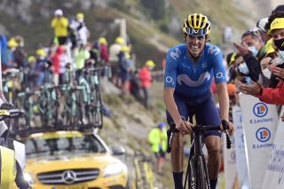 Movistar's Enric Mas fights his way to the finish of stage 17 of the 2020 Tour de France on the Col de la Loze