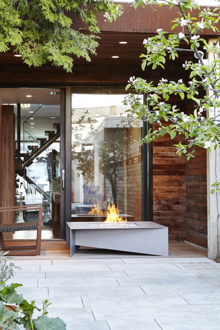 modern outdoor furniture ideas with modern fire pit fire table