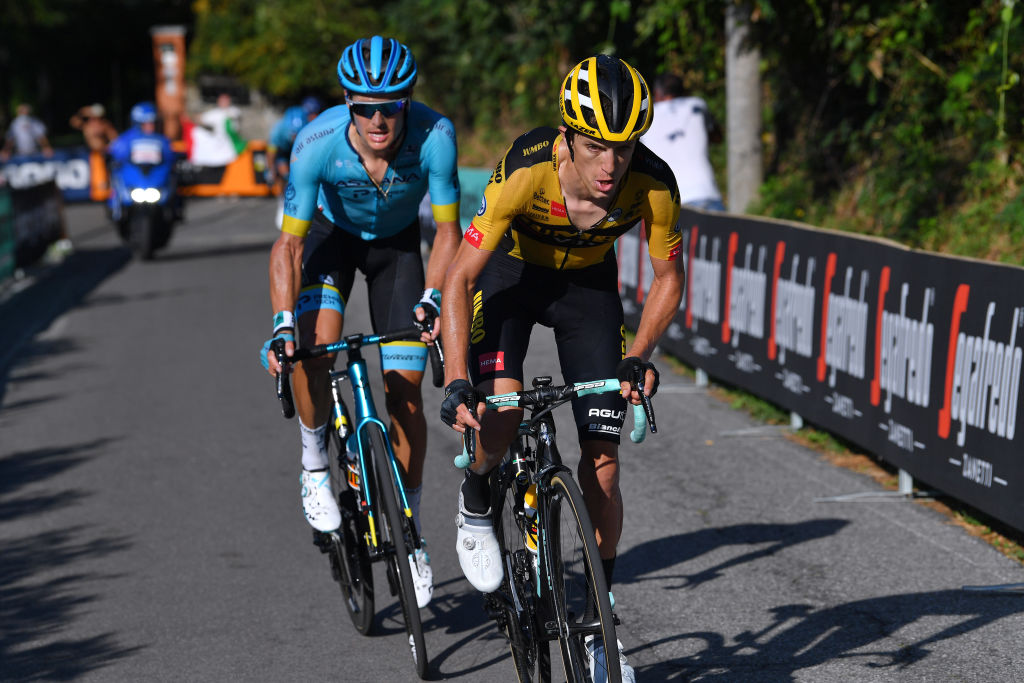 COMO ITALY AUGUST 15 Jakob Fuglsang of Denmark and Astana Pro Team George Bennett of New Zealand and Team Jumbo Visma during the 114th Il Lombardia 2020 a 231km race from Bergamo to Como ilombardia IlLombardia on August 15 2020 in Como Italy Photo by Tim de WaeleGetty Images