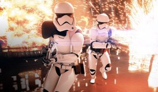 Storm Troopers run through explosions in Battlefront 2