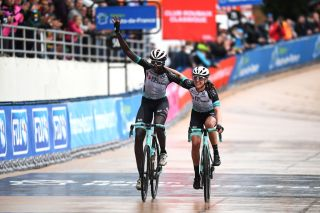 ROUBAIX FRANCE OCTOBER 02 LR Teniel Campbell of Trinidad and Tobago and Team BikeExchange and Jessica Allen of Australia and Team BikeExchange reacts to cross the finishing line in the Roubaix Velodrome Vlodrome Andr Ptrieux during the 1st ParisRoubaix 2021 Womens Elite a 1164km race from Denain to Roubaix ParisRoubaixFemmes ParisRoubaix on October 02 2021 in Roubaix France Photo by Tim de WaeleGetty Images