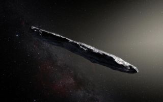 Artist's illustration of 'Oumuamua, the first confirmed interstellar object ever spotted in our solar system.