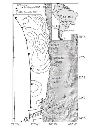 Map of Chile earthquakes and deformation
