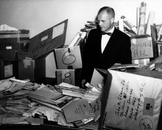 John Glenn in NASA's mailroom