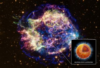 This image presents a composite of X-rays from Chandra (red, green, and blue) and optical data from Hubble (gold) of Cassiopeia A, the remains of a massive star that exploded in a supernova. Inset: A cutout of the interior of the neutron star, where densi