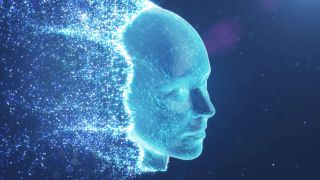 A blue polygonal face disapparating into sparkly particles