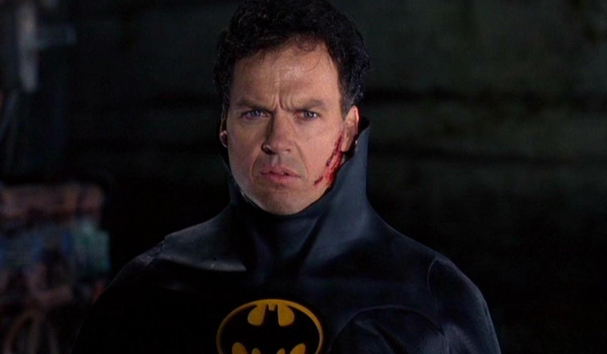 Batman Michael Keaton without his cowl