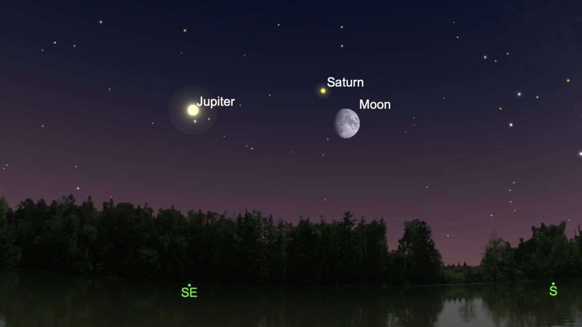 The moon will visit Saturn and Jupiter this week in skywatching doubleheader
