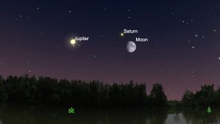 Jupiter, Saturn and the half moon, as seen from New York City looking south on the night of Sept. 16, 2021.