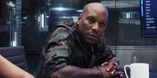 Roman Pearc (Tyrese Gibson) looks ahead in Fast 8 (2017)