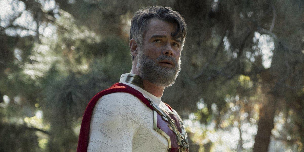 bearded josh duhamel with short hair as the utopian in netflix's jupiter's legacy