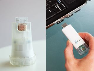An image of the USB stick device that can test for HIV.