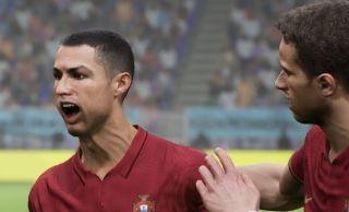 Cristiano Ronaldo's weird face in eFootball.