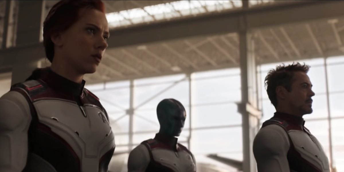 Black Widow and Iron Man preparing to pull off the time heist