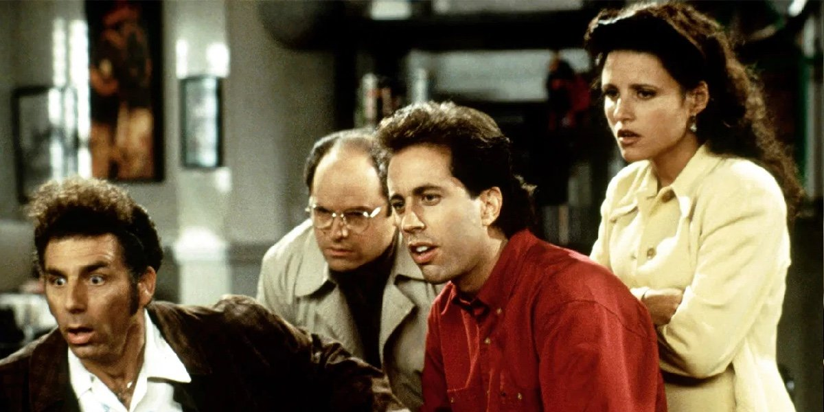 Michael Richards as Cosmo Kramer, Jason Alexander as George Costanza, Jerry Seinfeld as Jerry Seinfeld and Julia Louis-Dreyfus as Elaine Benes in Seinfeld.