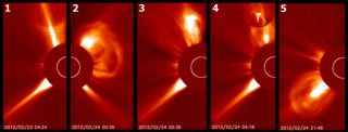 The sun produced five eruptions over a two-day period from Feb. 23 to 24. The fourth eruption hurled white hot material (circular inset) high into the solar corona.