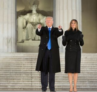 President-elect Donald J. Trump and his wife Melania arrive for the inaugural concert at the Lincoln Memorial in Washington, D.C., on Jan. 19, 2017, a day before he will take the Oath of Office as the 45th U.S. president.
