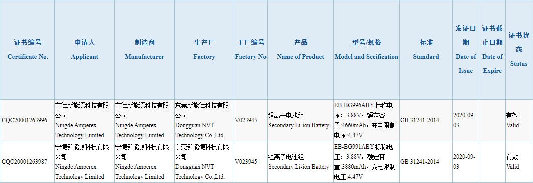 Samsung Galaxy S21 battery specs