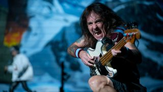 Bassist Steve Harris of Iron Maiden perform during the Legacy of the Beast tour at Xcel Energy Center in Saint Paul, Minnesota