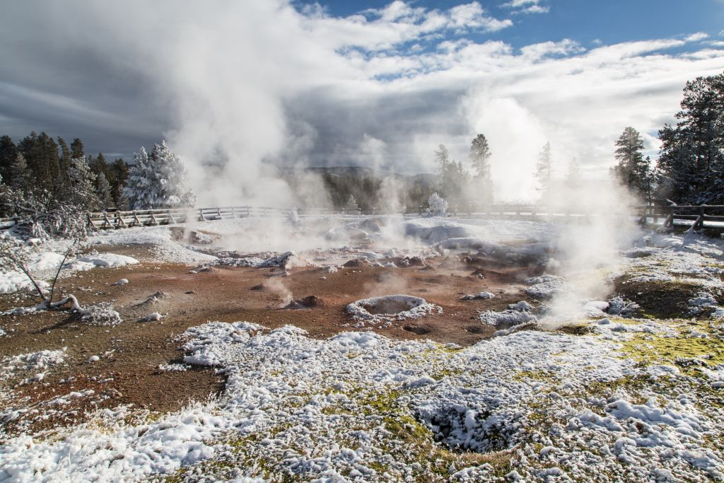 Fountain Paint Pot, one of the many hydrothermal features fueled by the angry hotspot below Yellowstone National Park.