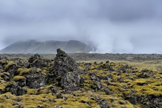Volcanic landscape on the Reykjanes Peninsula in Iceland.