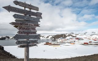 An elevated view of Bellingshausen Station and Frei Base on King George Island in Antarctica, where the stabbing allegedly took place.