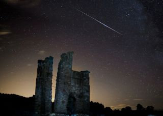 Perseid Meteor Over Edlington Castle England