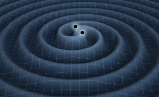 This artist's illustration depicts the creation of gravitational waves from two orbiting black holes as ripples in space-time. In March 2014, astronomers announced the first detection of long-sought gravitational waves, though some critics now say the fin