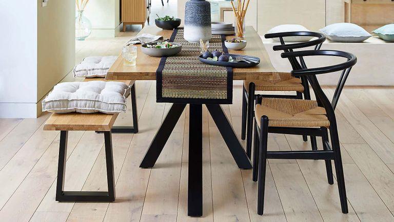 Lara Black Chair in dining room tucked under dining bench