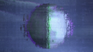 A vertically bisected circle, black on one side and white on the other. It is viewed against a dark sky. It is possibly the moon. The entire image is cast in a lo-resolution distorted way like a VHS tape.