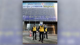 Officials disinfect a church in Daegu, South Korea, on Feb. 20.