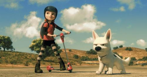 Bolt - John Travolta and Miley Cyrus provide the voices of the canine hero and his young owner