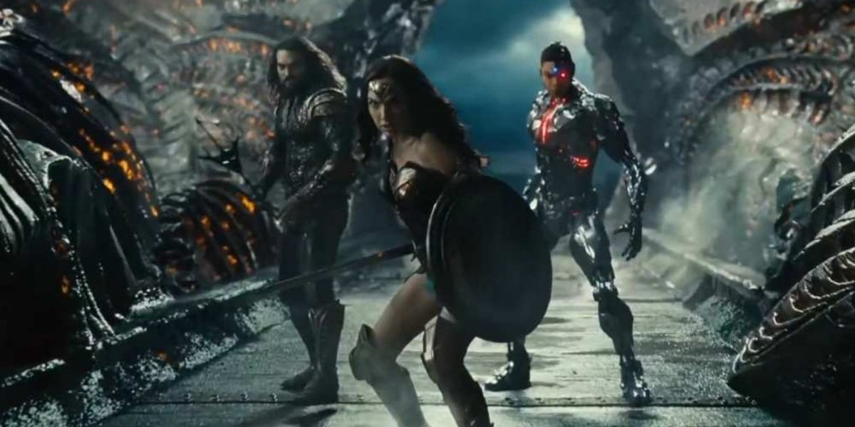 Jason Momoa, Gald Gadot, and Ray Fisher in Justice League