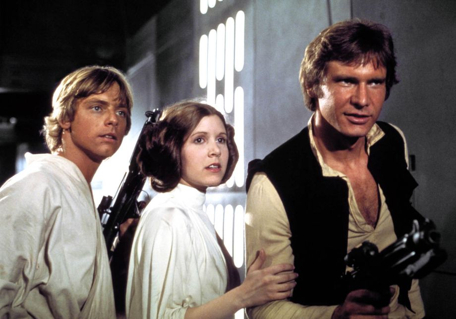 Mark Hamill, Carrie Fisher and Harrison Ford in a stand-off