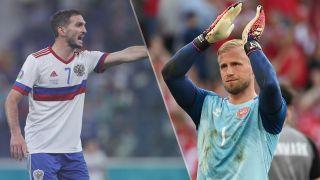 Russia vs Denmark live stream at Euro 2020 — Magomed Ozdoev of Russia and Kasper Schmeichel of Denmark