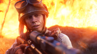 A sniper in front of a wall of fire.