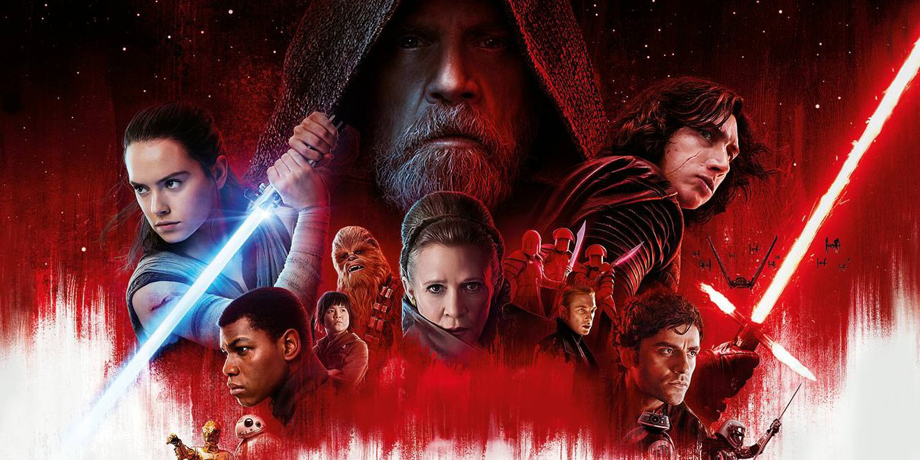 Star Wars: The Last Jedi Luke looms over the rest of the cast in red