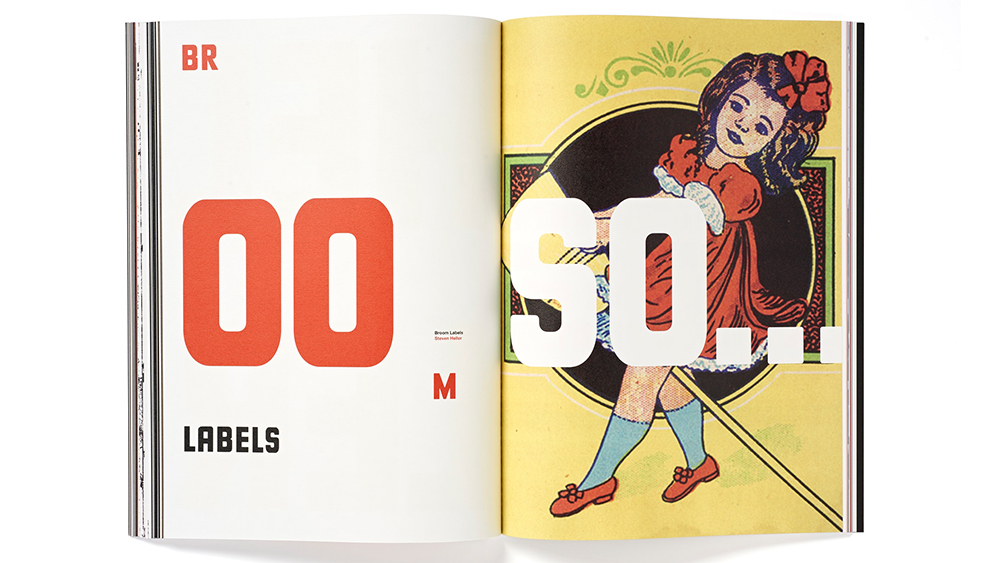 Booklet layout shows a retro illustrated girl and 'oo soo...' typed