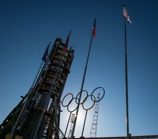 Olympic Rings at Soyuz Launch Pad