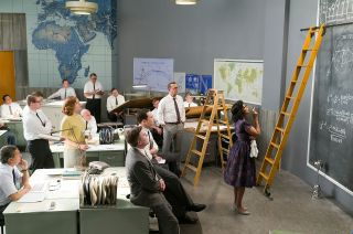 "The ladders and blackboards seen in this still from the new movie ""Hidden Figures"" are among several subtle nods, or Easter eggs, to NASA's early space race history."
