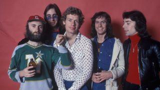 Genesis; L-R, Phil Colins, Mike Rutherford, Bill Bruford, Tony Banks, Steve Hackett